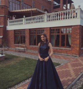 Синее вечернее/выпускное платье размера S/M