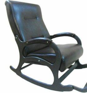 """Кресло-качалка """"Престиж"""", черная экокожа"""
