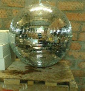 зеркальный шар 50 см с мотором