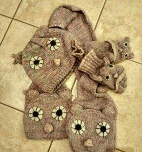 Шапочка+шарфик+варежки+наушники
