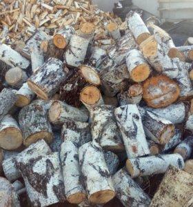 Колотые березовые дрова. Не колотые швырок