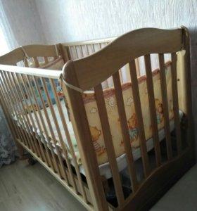 Детская кроватка Ванечка Натуральный+матрас с чехл