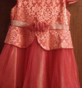 Платье нарядное Коралловое