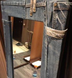 Зеркало в джинсовой раме