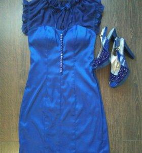 Синее платье 44-го размера