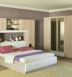Кровать с изголовьем из экокожи+дуб сонома