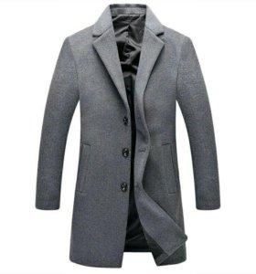 Пальто мужское шерстяное зимнее Классика серое
