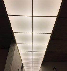 Монтаж потолка из акрила ! Потолок светильник !!!