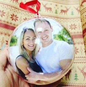 Новогодний шар на ёлку с вашим фото