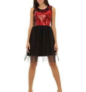 Платье коктейльное с пайетками красное 10119