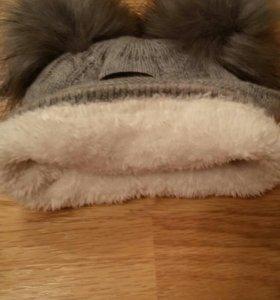 Зимняя шапочка на 3- 6 мес
