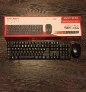 Беспроводные клавиатура и мышь Crown 954w