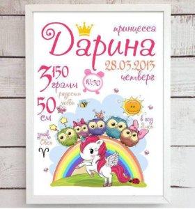 Плакат-метрика для малыша