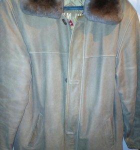 Теплая муж куртка из нат кожи и меха