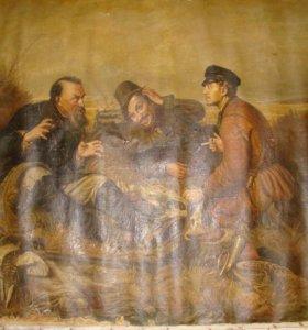 Картина маслом на холсте Охотники на привале