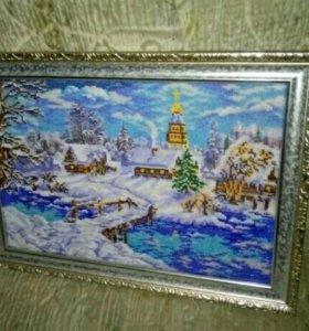 «Рождественская сказка» вышитая бисером
