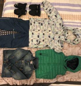 Костюм,жилет,джинсовая куртка