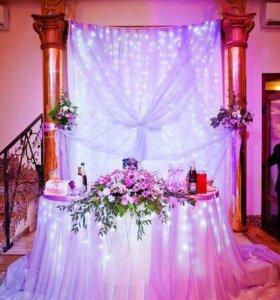 Оформление свадеб шарами, цветами, тканями