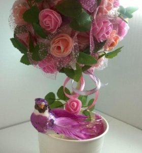 "Топиарий ""Розовое Дерево счастья "" подарок"