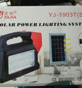Фонарь с солнечной панелью+фм радио+3 лампочки+ за