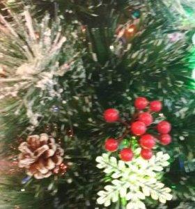 Ёлка новогодняя светодиодная с шишками 150см