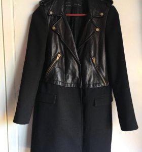 Пальто куртка кожа натуральная zara