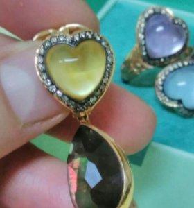 Комплект золото с бриллиантами и нат.камнями💋💓
