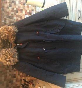 куртка парка осень-весна с капюшоном т-синяя