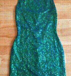 Платье вечернее коктейльное синий зеленый пайетки