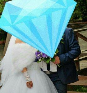 Свадебное платье +накидка лебяжий пух+ аксессуары