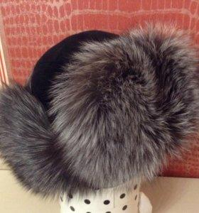 Шапка-ушанка чернобурка-замша новая красивая