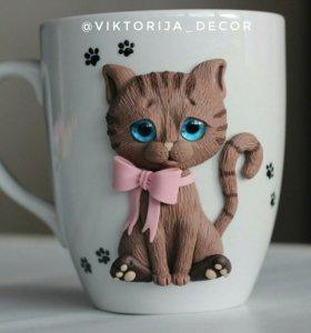Кружка с котёнком из полимерной глины