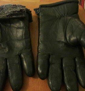 Кожаные зимние мужские перчатки