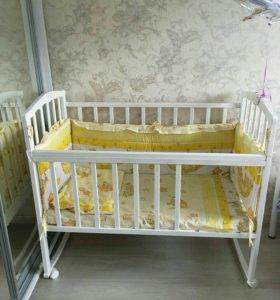 Кровать детская+в подарок матрас и бортик