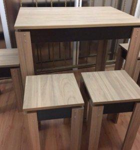 Новый обеденный стол и 4 табурета
