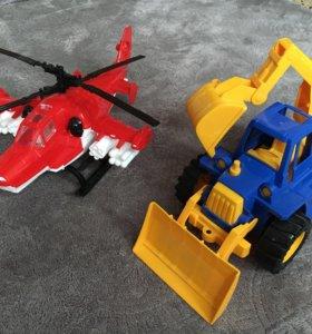 Игрушки вертолёт экскаватор