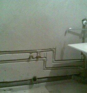 Замена труб в ванной и туалете.