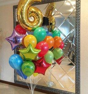 Воздушные шары с цифрами на день рождения.