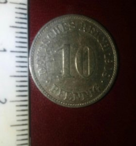 Монета 10 Пфенингов Deutsches Reich 1908 Австрия