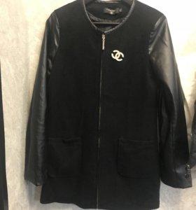 Куртка удлинённая с рукавом из экокожи
