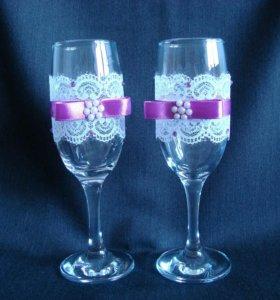Свадебные бокалы, ручная работа