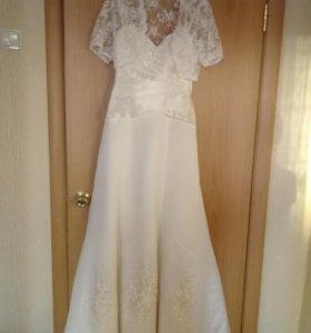 Свадебное платье, накидка, туфли, чулки