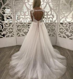 Новое пудровое свадебное платье