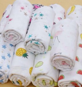Муслиновые пелёнки, слюнявчики, одеялки