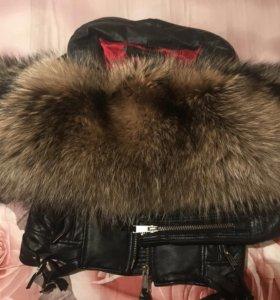 Куртка кожанная и мех натуральный
