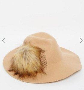 Фетровая шляпа с меховой отделкой. Новая