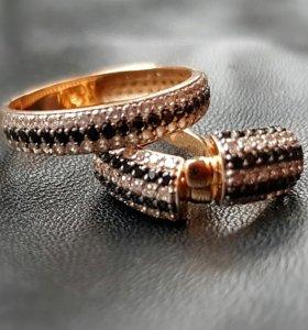 Серьги+кольцо (золото, комплект)