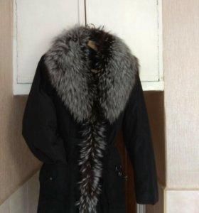 Куртка женская воротник из натуральной чернобурки