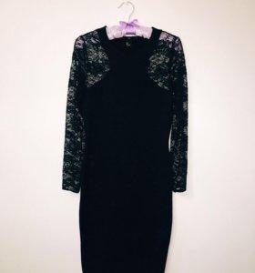 Чёрное платье с кружевными рукавами H&M