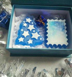 Мыло новогоднее набор  Ёлочка с открыткой